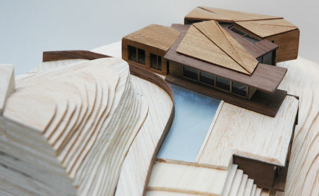 A handmade model of the Aiguafreda House with it´s views over the Costa Brava