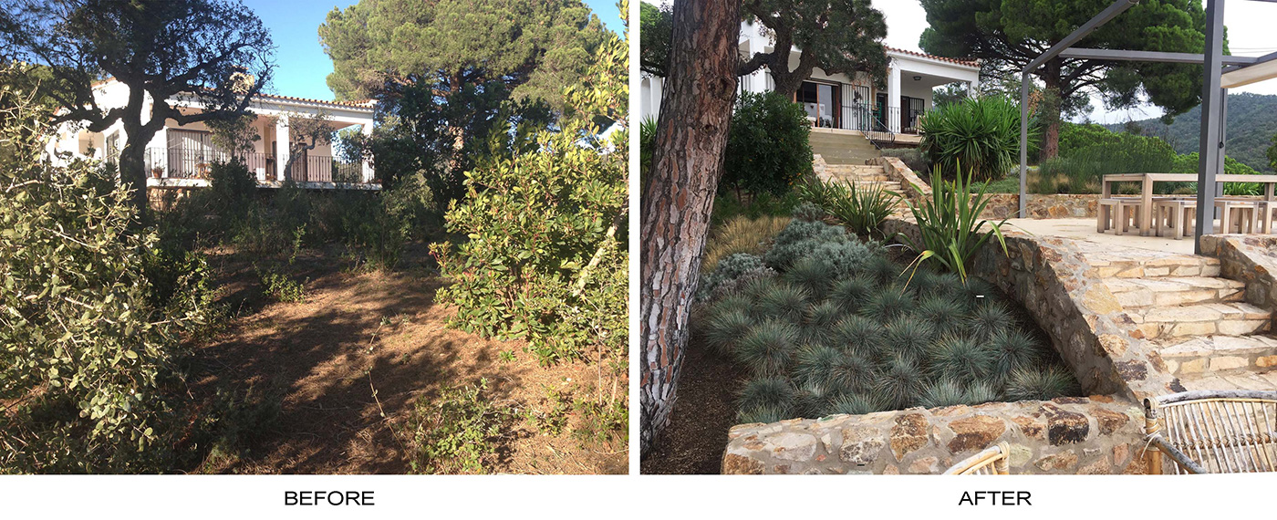 Tossa de Mar before and after garden
