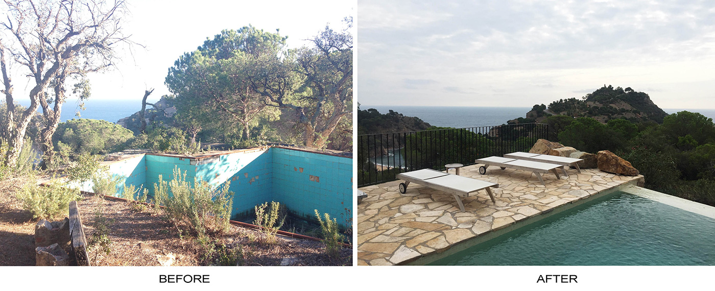 Tossa de Mar before and after pool