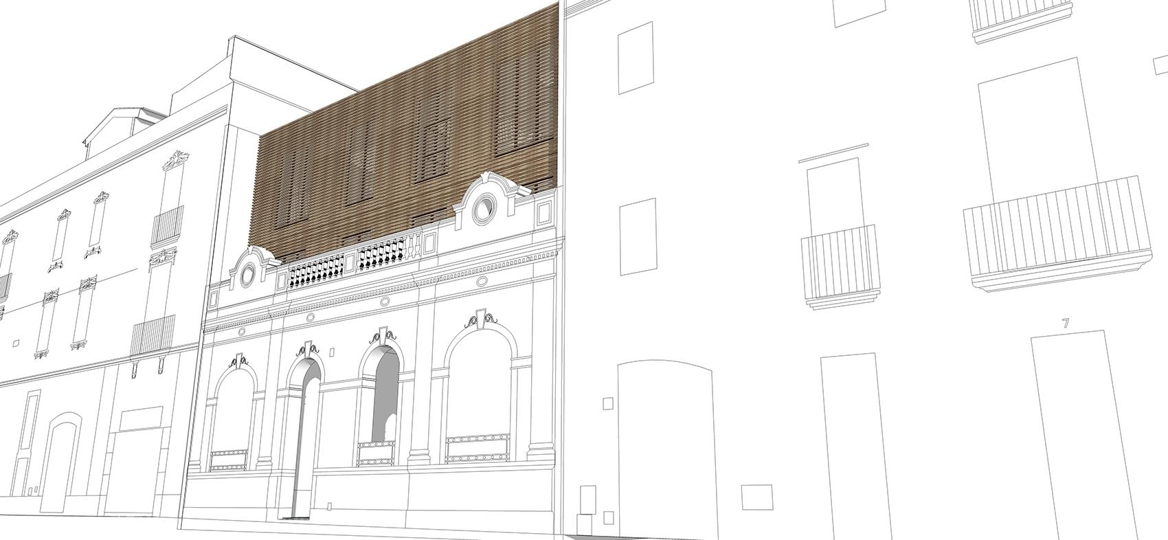 House Vilanova wood slat facade