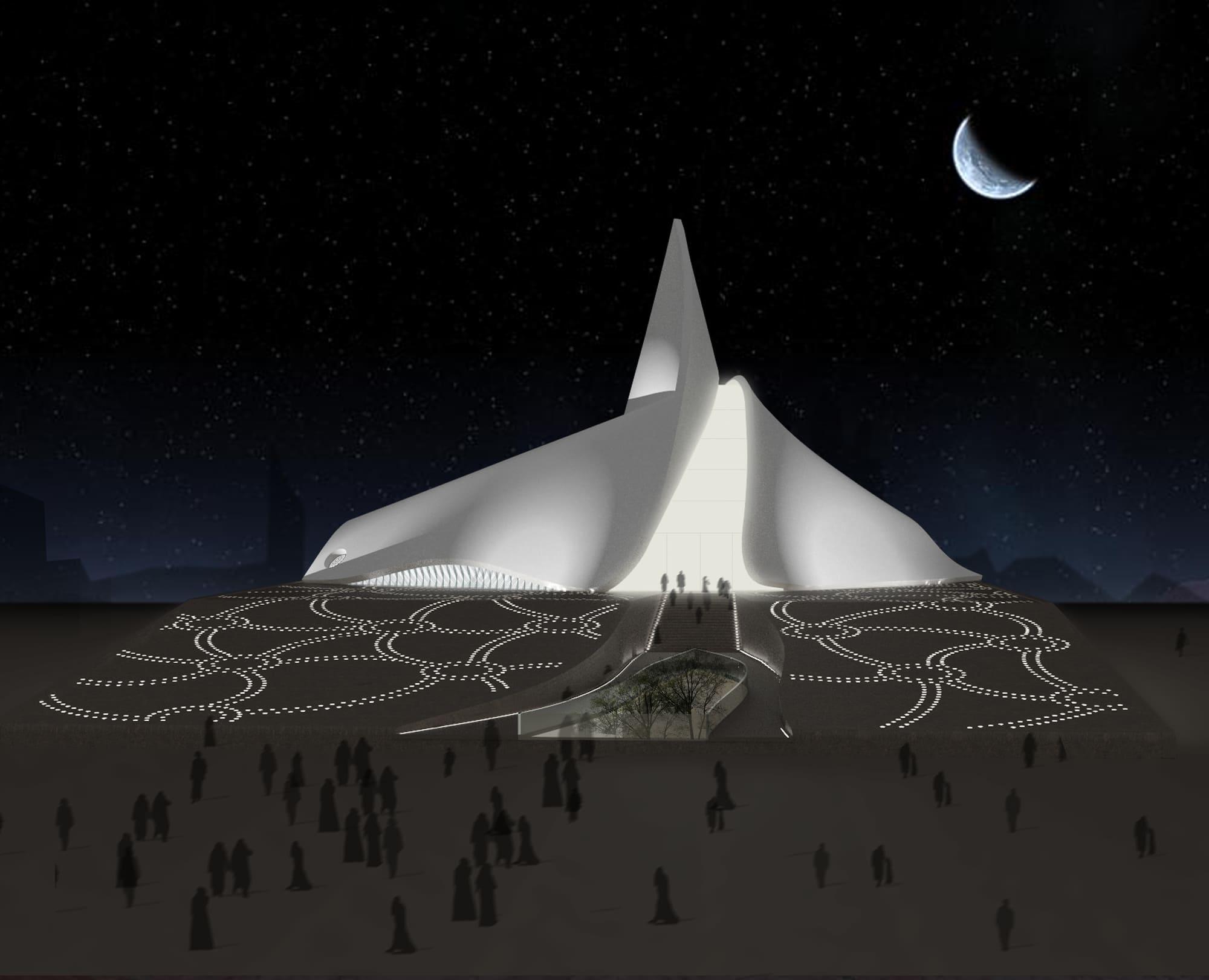 Ray of Light mosque Dubai at night