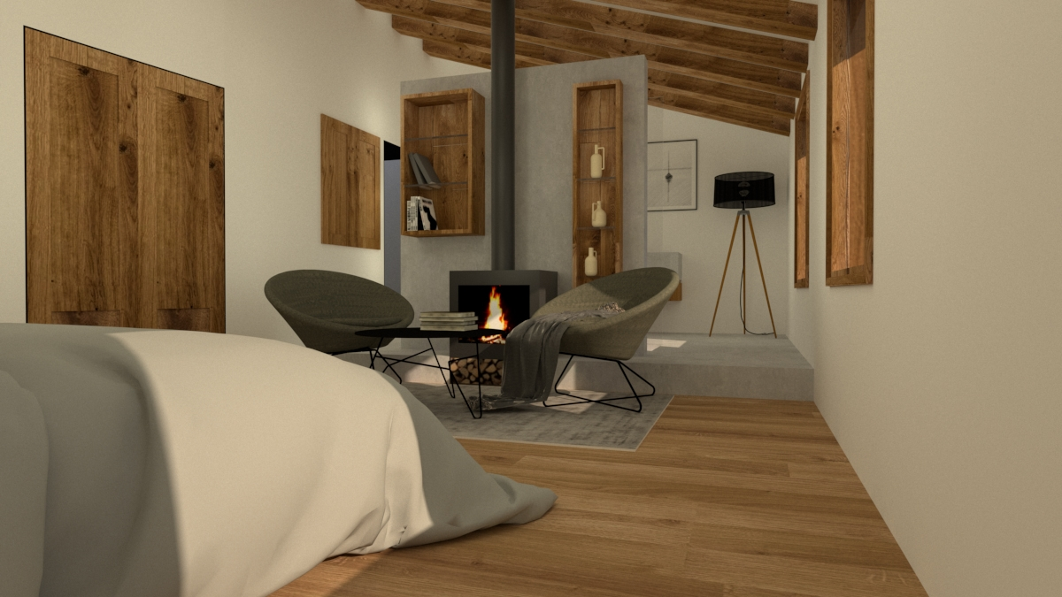 Sau master bedroom with fireplace and open plan bathroom