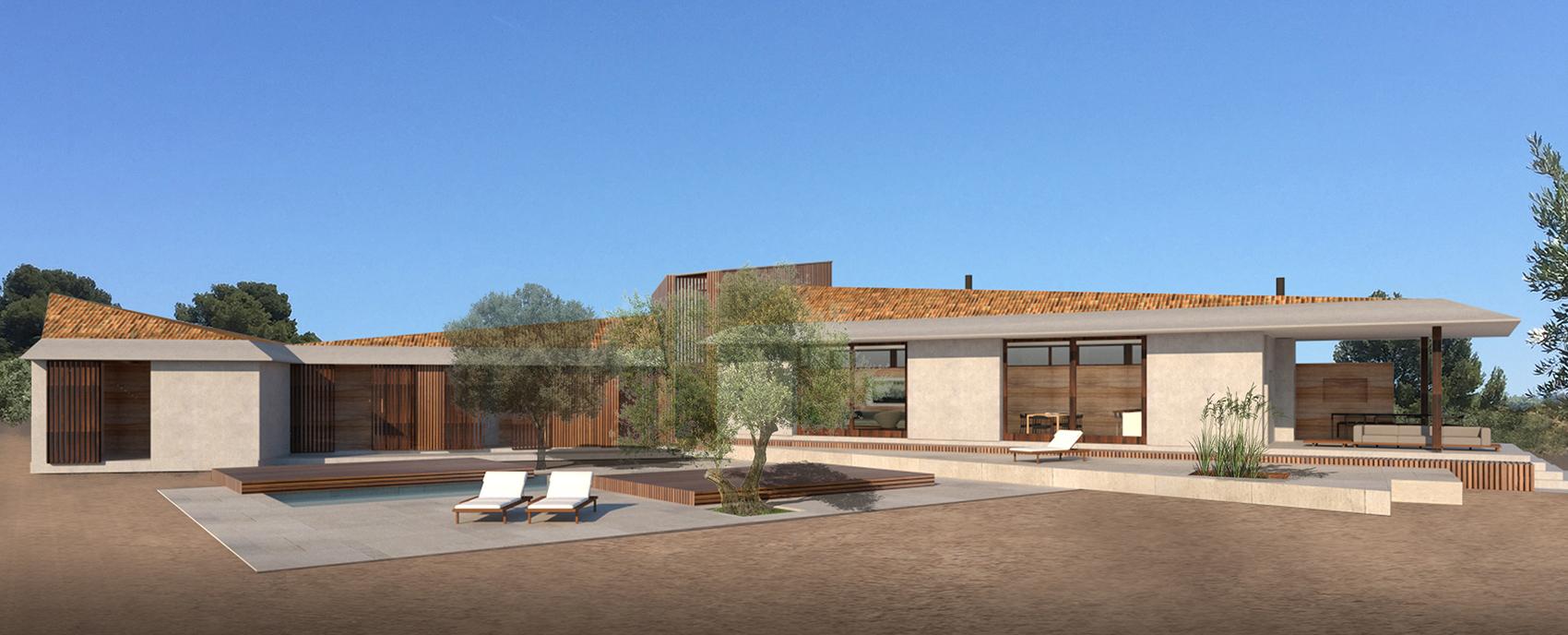 House Matarraña pool terrace with olive trees