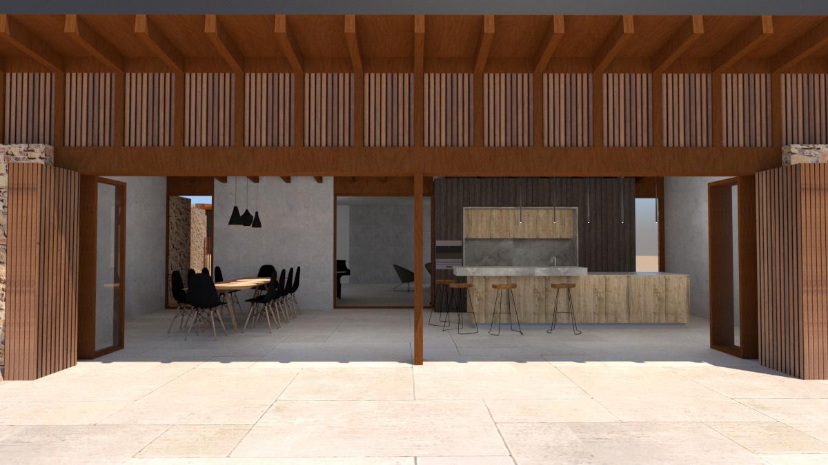 Spanish house with modern kitchen design