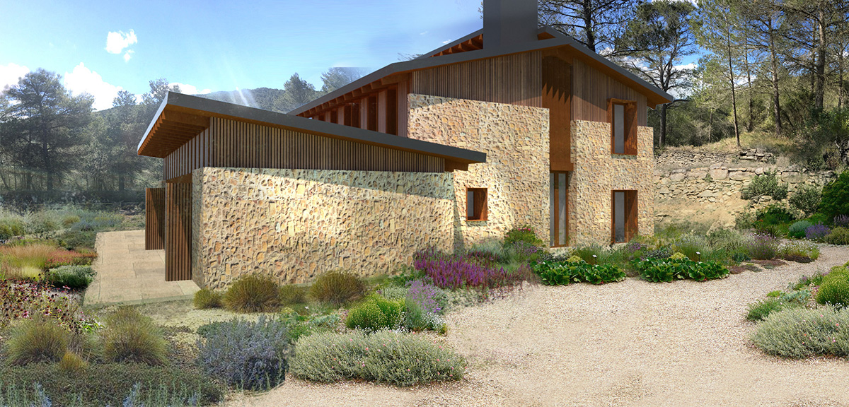 Querol water wise garden and stone house