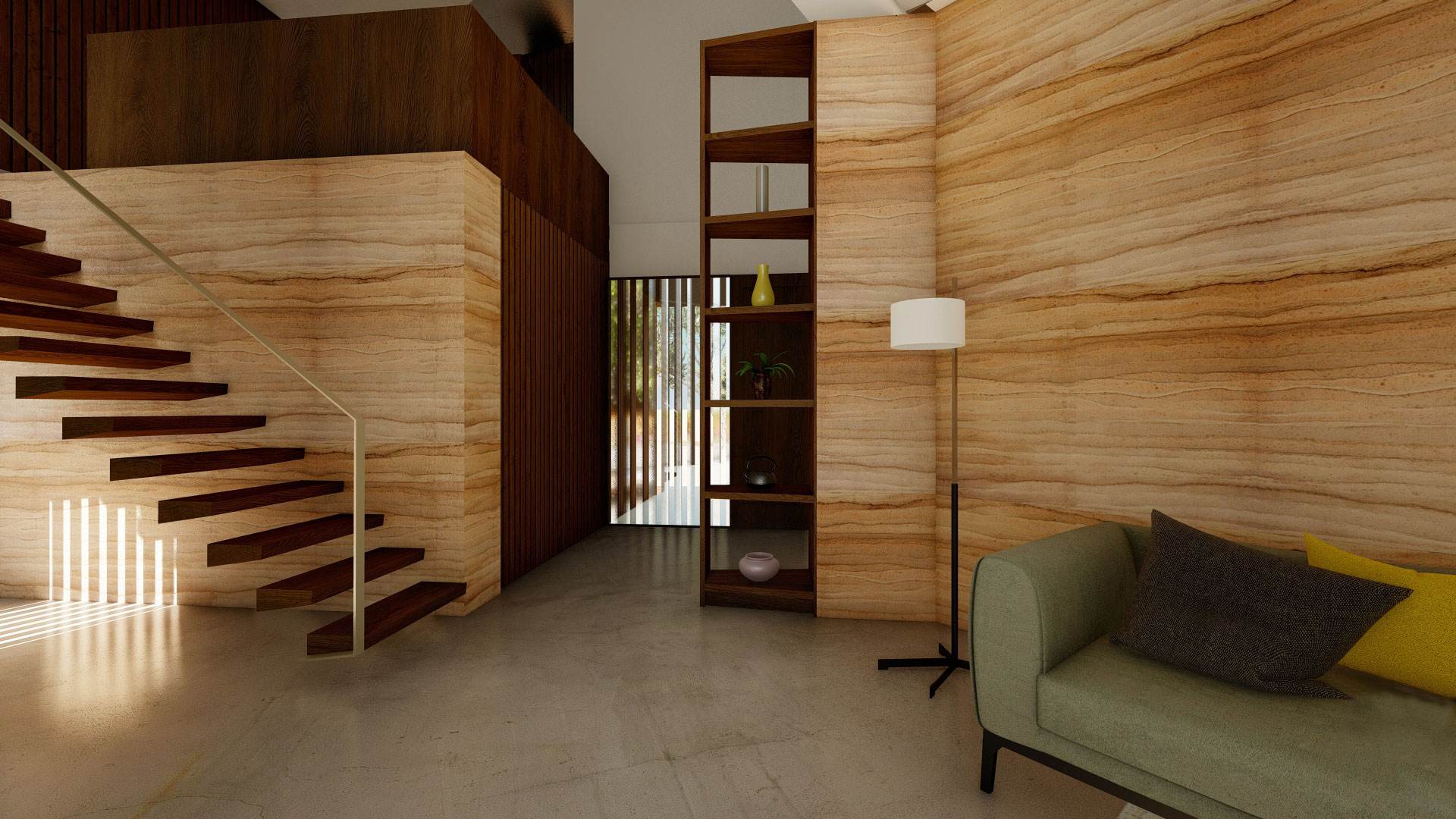 Rammed earth wall in passive house matarraña. Designed by Zest Architecture.