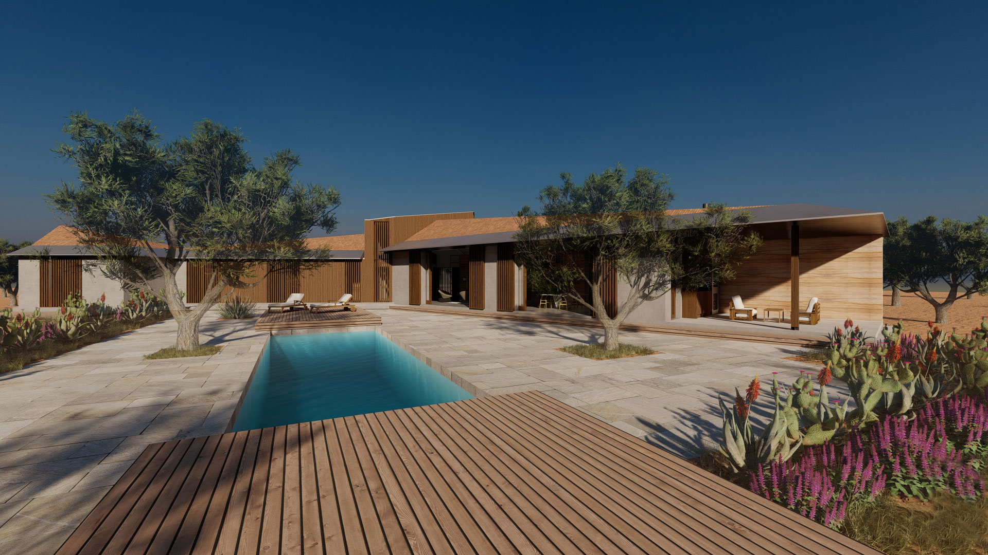 Passive House sustainable new build Spain with rammed earth wall and wood shutters