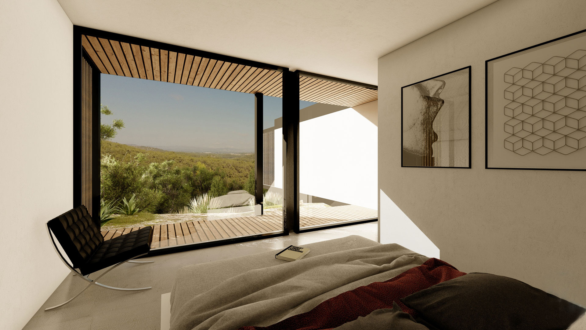 modular house bedroom with costa brava views